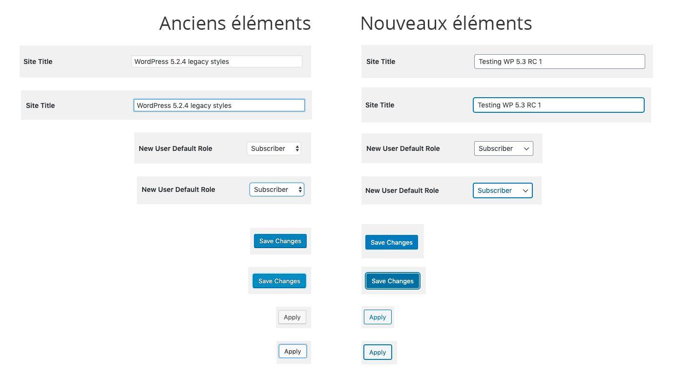 Comparatif entre les anciens et les nouveaux éléments visuels de WordPress