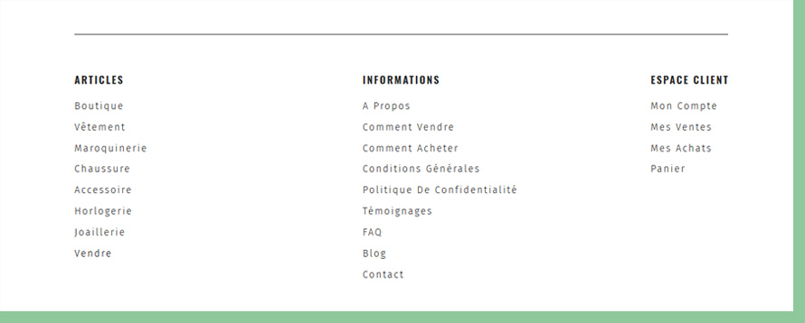 UX - Footer menu