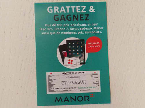 Ticket gratté, on obtient un code