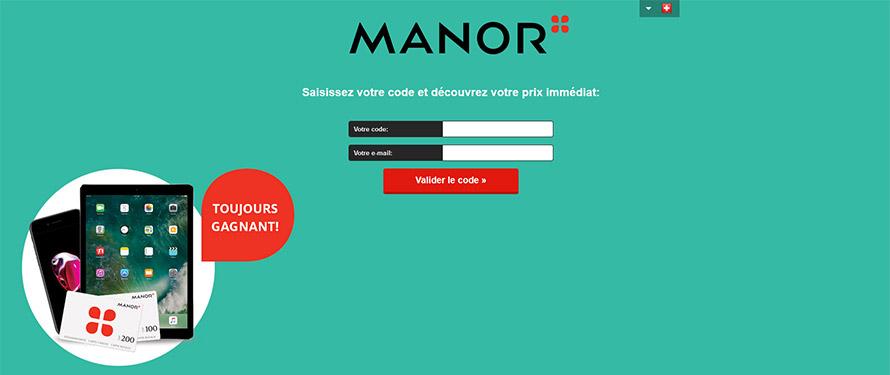 Site manor - entrer le code et l'email