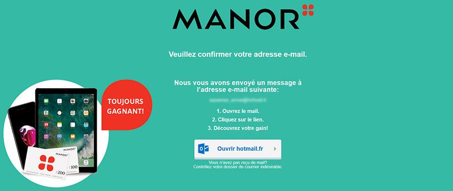 Site de Manor - Confirmer l'adresse email