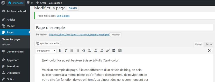 shortcode WordPress avec valeur par défaut