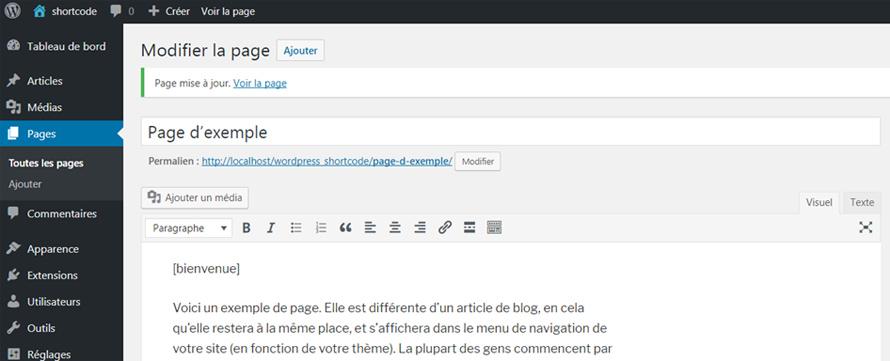 Ajouter un shortcode à une page WordPress