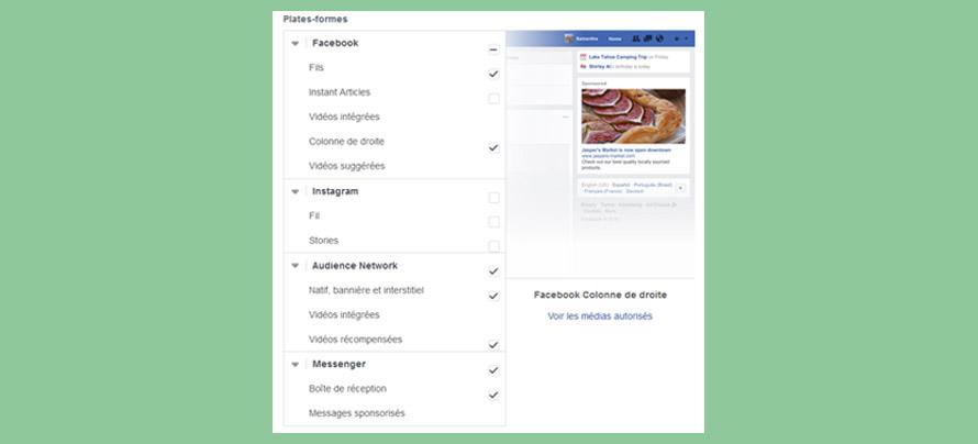 Facebook emplacement des publicités