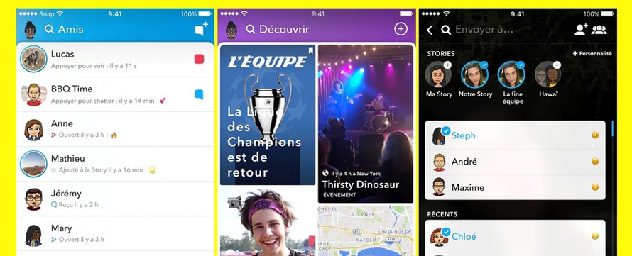 Nouvelle interface de Snapchat pour 2018