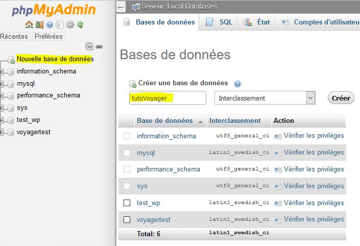 Création d'une base de données avec Wamp